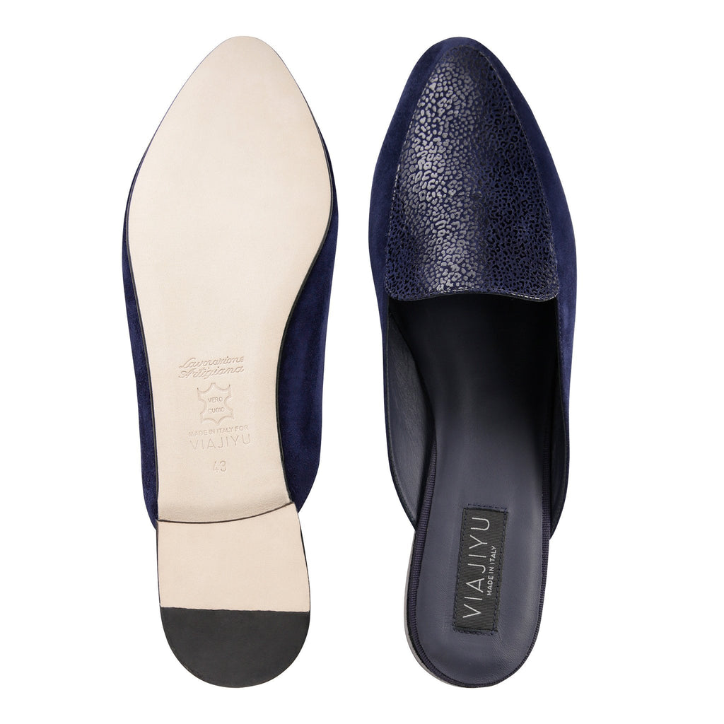 ISEO - Velukid + Savannah Midnight, VIAJIYU - Women's Hand Made Sustainable Luxury Shoes. Made in Italy. Made to Order.