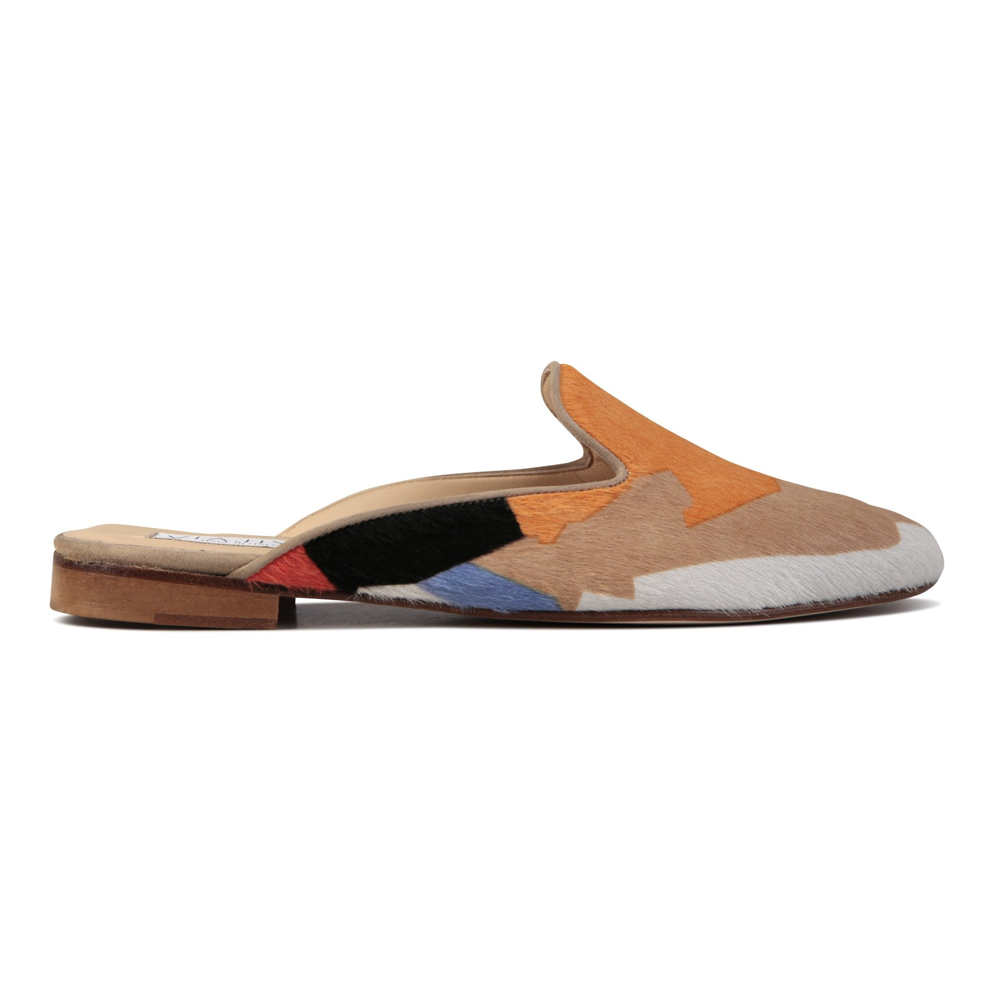 ISEO - Calf Hair Rio II + Velukid Tan, VIAJIYU - Women's Hand Made Sustainable Luxury Shoes. Made in Italy. Made to Order.