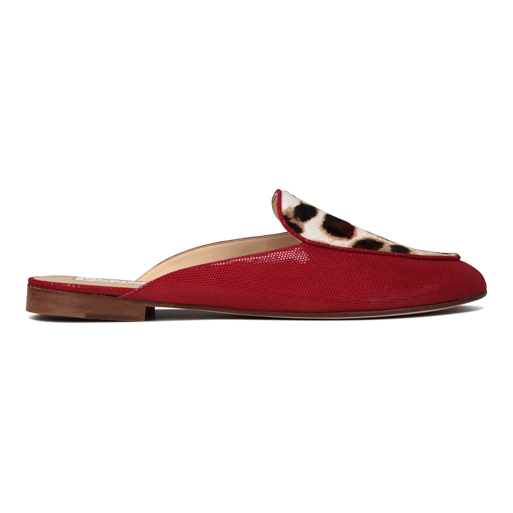 ISEO - Lady Rosso + Calf Hair Red Leopard, VIAJIYU - Women's Hand Made Sustainable Luxury Shoes. Made in Italy. Made to Order.