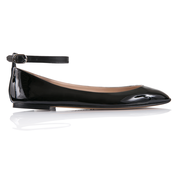 TORINO - Patent Nero, VIAJIYU - Women's Hand Made Sustainable Luxury Shoes. Made in Italy. Made to Order.