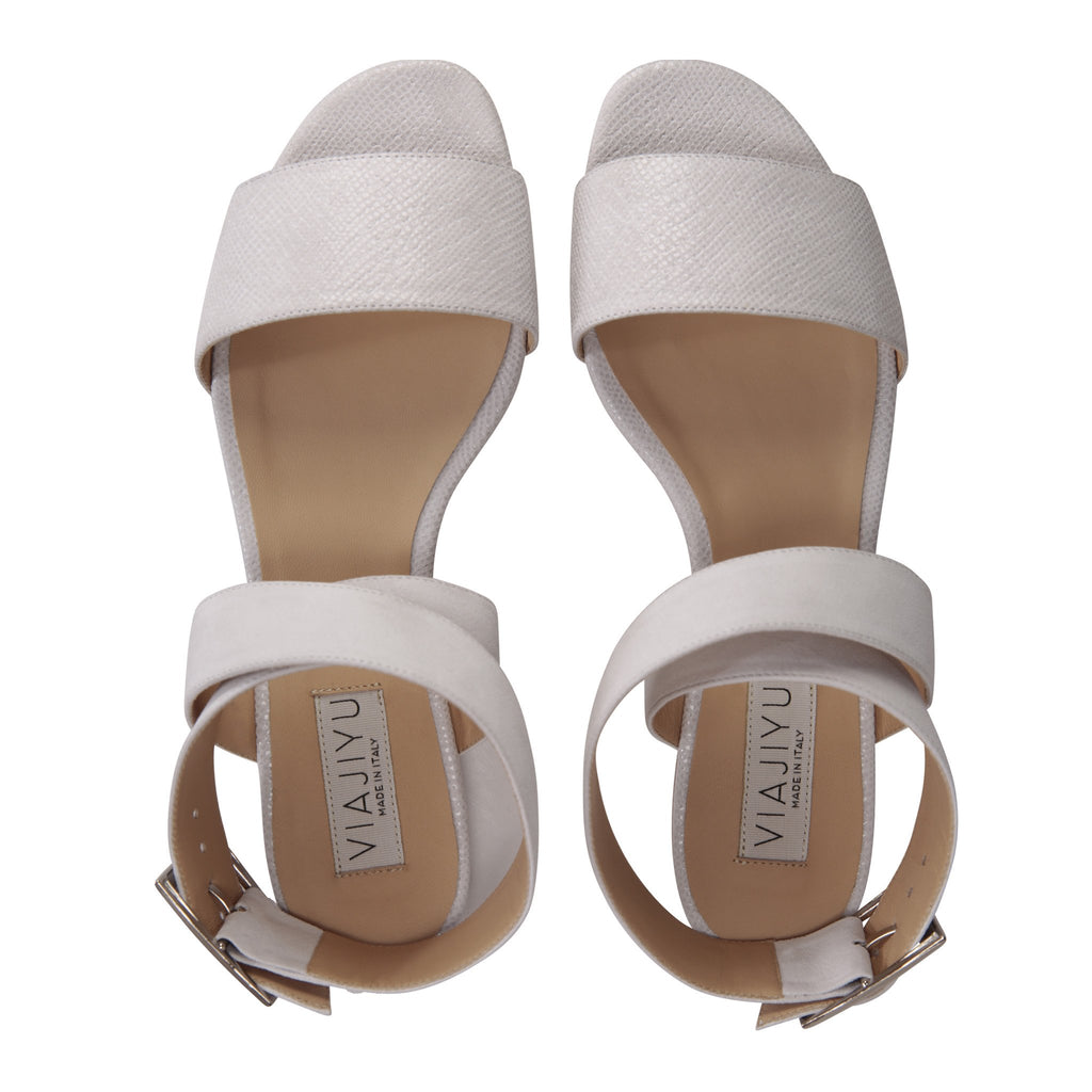 LUCCA - Karung + Hydra Bianco, VIAJIYU - Women's Hand Made Sustainable Luxury Shoes. Made in Italy. Made to Order.