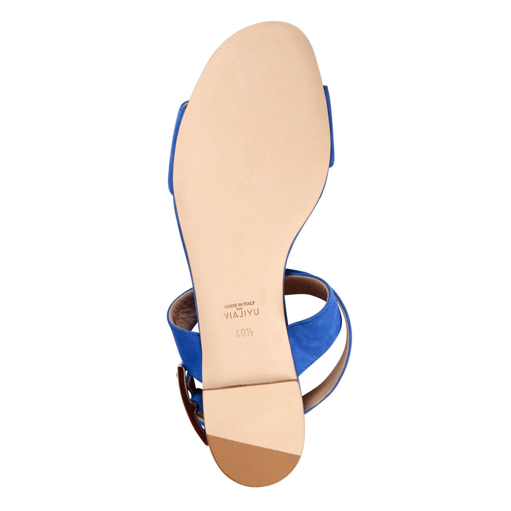 LUCCA - Velukid Cobalt, VIAJIYU - Women's Hand Made Sustainable Luxury Shoes. Made in Italy. Made to Order.