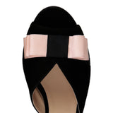 MASSA - Velukid Nero + Grosgrain Pink Bow, VIAJIYU - Women's Hand Made Sustainable Luxury Shoes. Made in Italy. Made to Order.