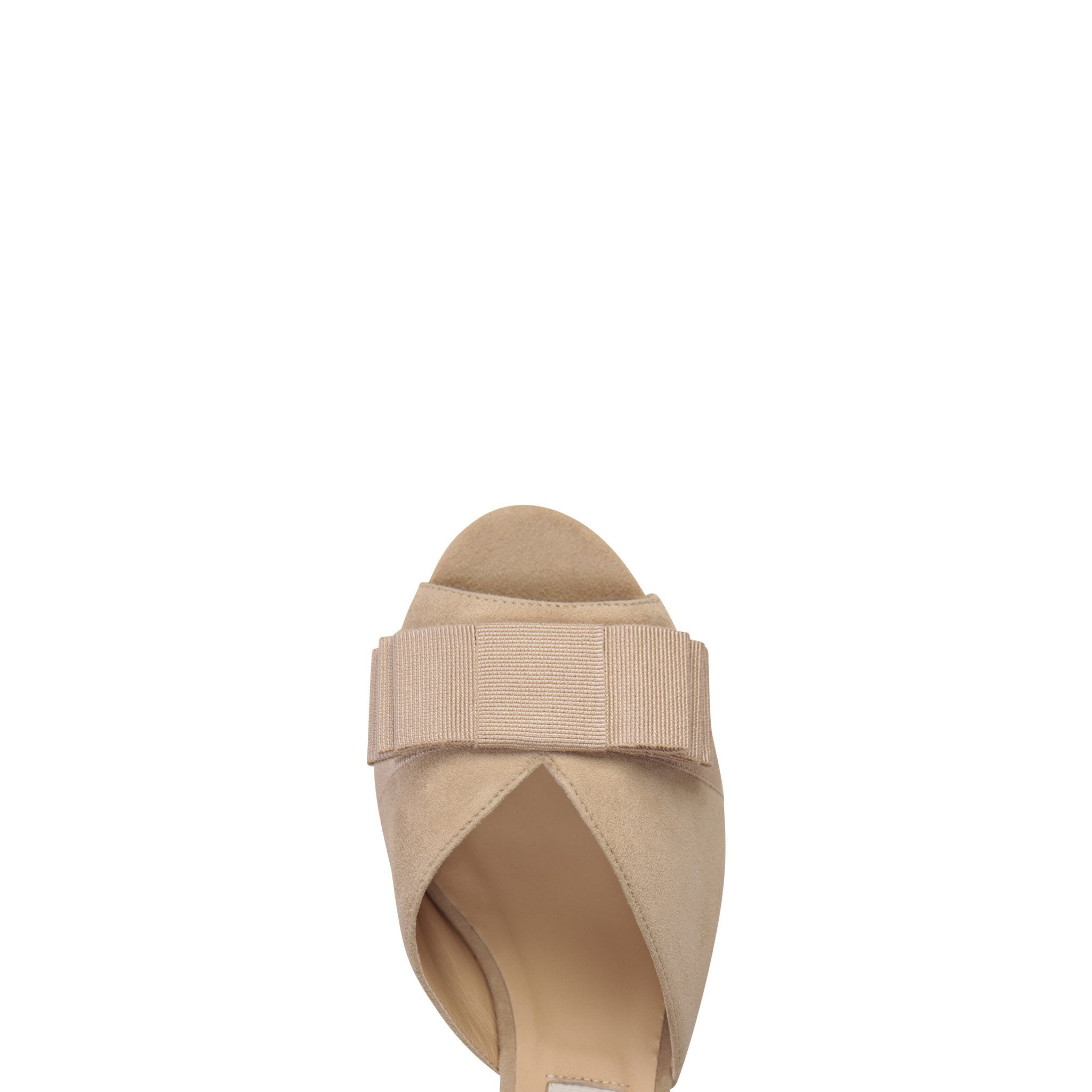 MASSA - Velukid Tan + Grosgrain Tan Bow, VIAJIYU - Women's Hand Made Sustainable Luxury Shoes. Made in Italy. Made to Order.