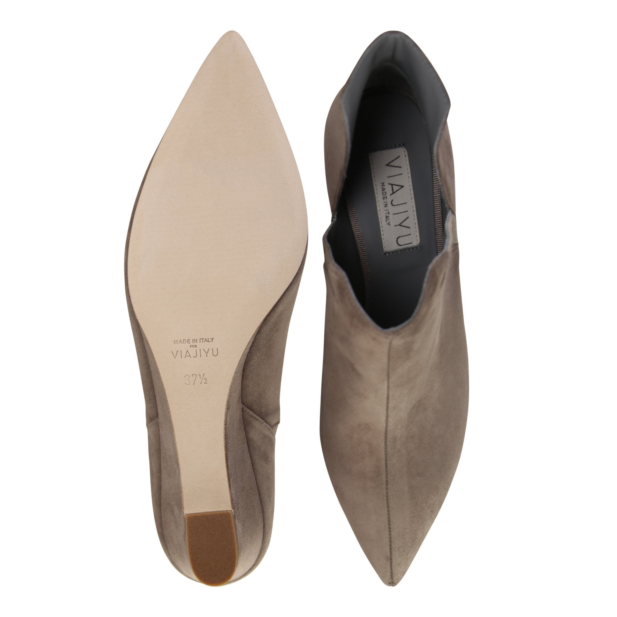 SYRENE - Velukid Taupe + Grosgrain Cenere, VIAJIYU - Women's Hand Made Sustainable Luxury Shoes. Made in Italy. Made to Order.