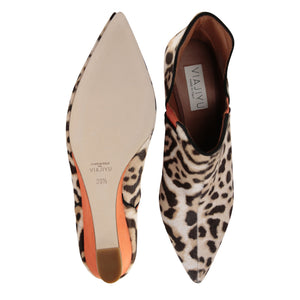 SYRENE - Calf Hair Cream Leopard + Velukid Sunset, VIAJIYU - Women's Hand Made Sustainable Luxury Shoes. Made in Italy. Made to Order.