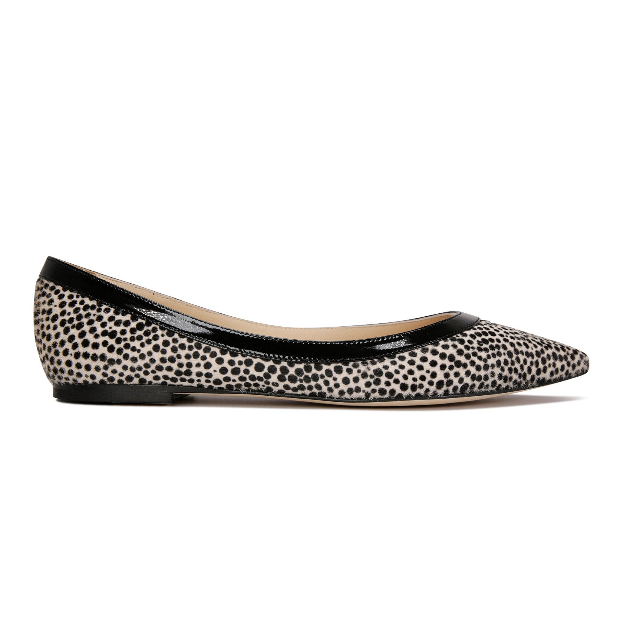 MILANO - Calf Hair Panna Cheetah + Patent Nero, VIAJIYU - Women's Hand Made Sustainable Luxury Shoes. Made in Italy. Made to Order.