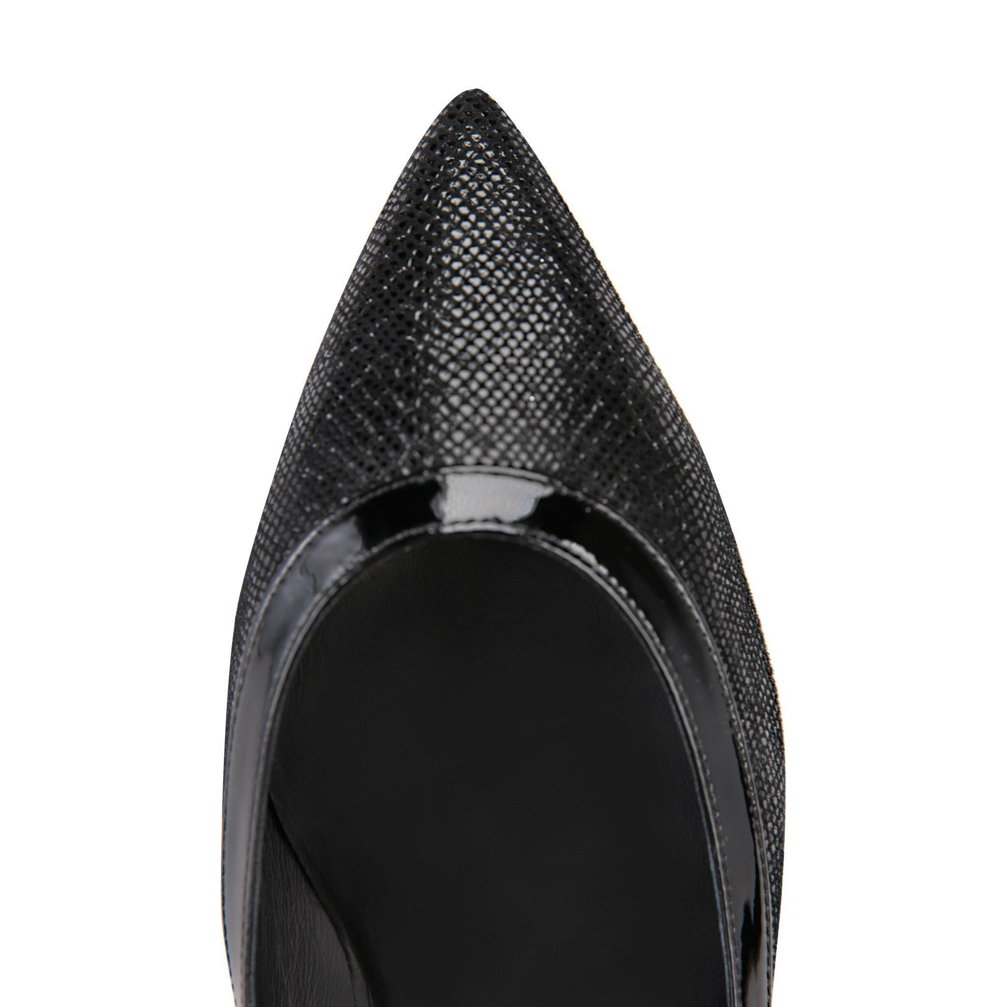 MILANO - Karung Nero + Patent, VIAJIYU - Women's Hand Made Sustainable Luxury Shoes. Made in Italy. Made to Order.