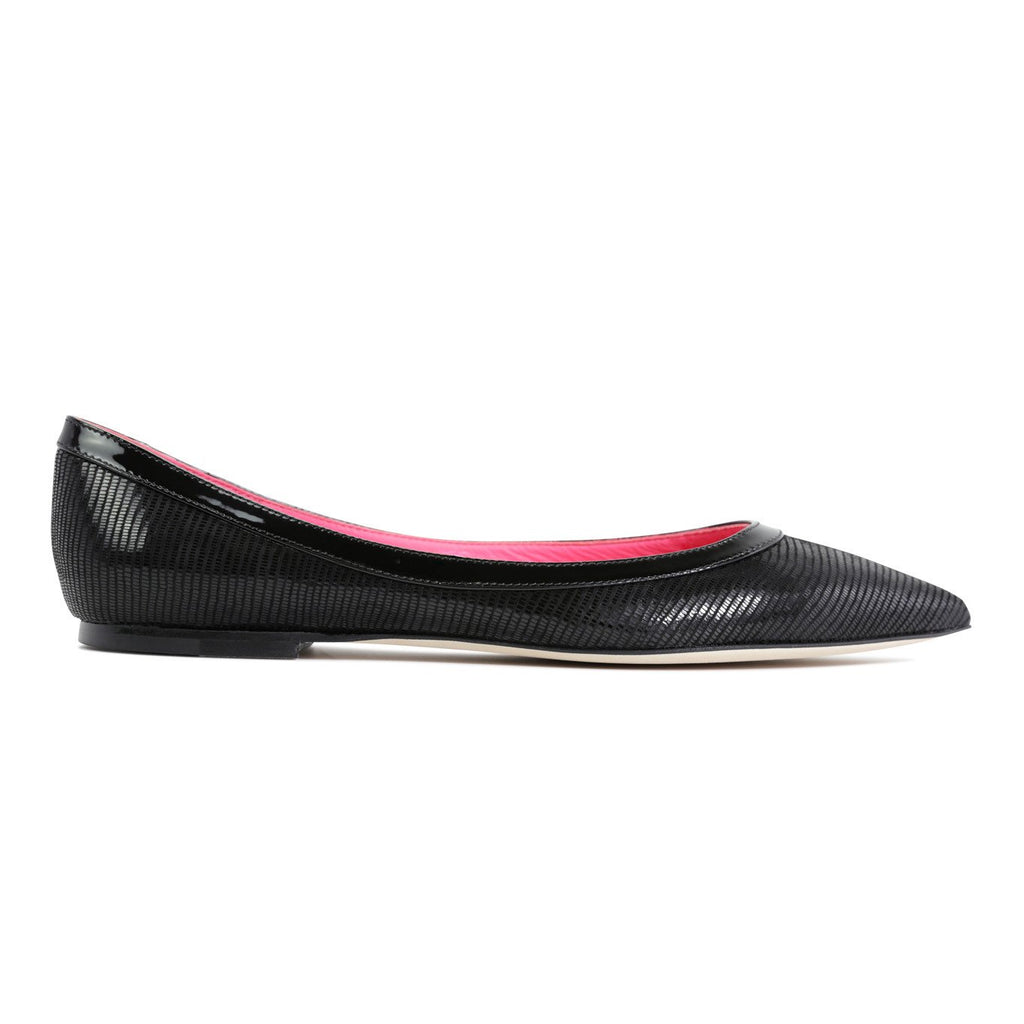 MILANO - Varanus Nero + Patent  + Pink Inside, VIAJIYU - Women's Hand Made Sustainable Luxury Shoes. Made in Italy. Made to Order.