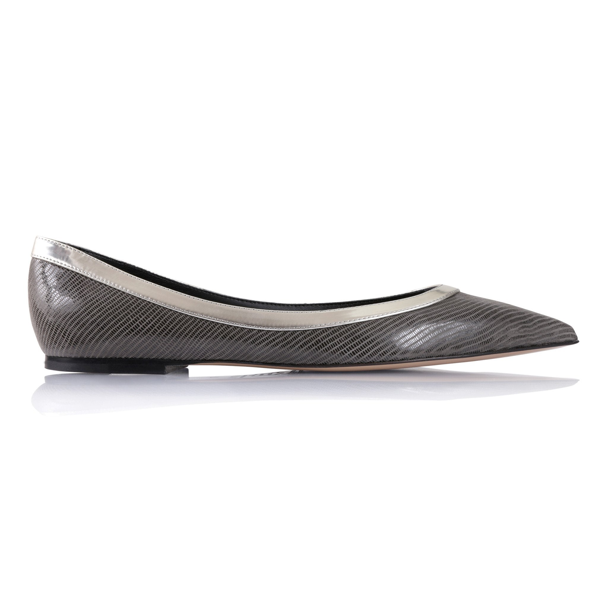 MILANO - Varanus Anthracite + Metallic Argento, VIAJIYU - Women's Hand Made Sustainable Luxury Shoes. Made in Italy. Made to Order.