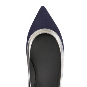 MILANO - Hydra Midnight + Metallic Argento, VIAJIYU - Women's Hand Made Sustainable Luxury Shoes. Made in Italy. Made to Order.