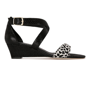 MODENA - Calf Hair Dalmation + Karung Nero, VIAJIYU - Women's Hand Made Sustainable Luxury Shoes. Made in Italy. Made to Order.