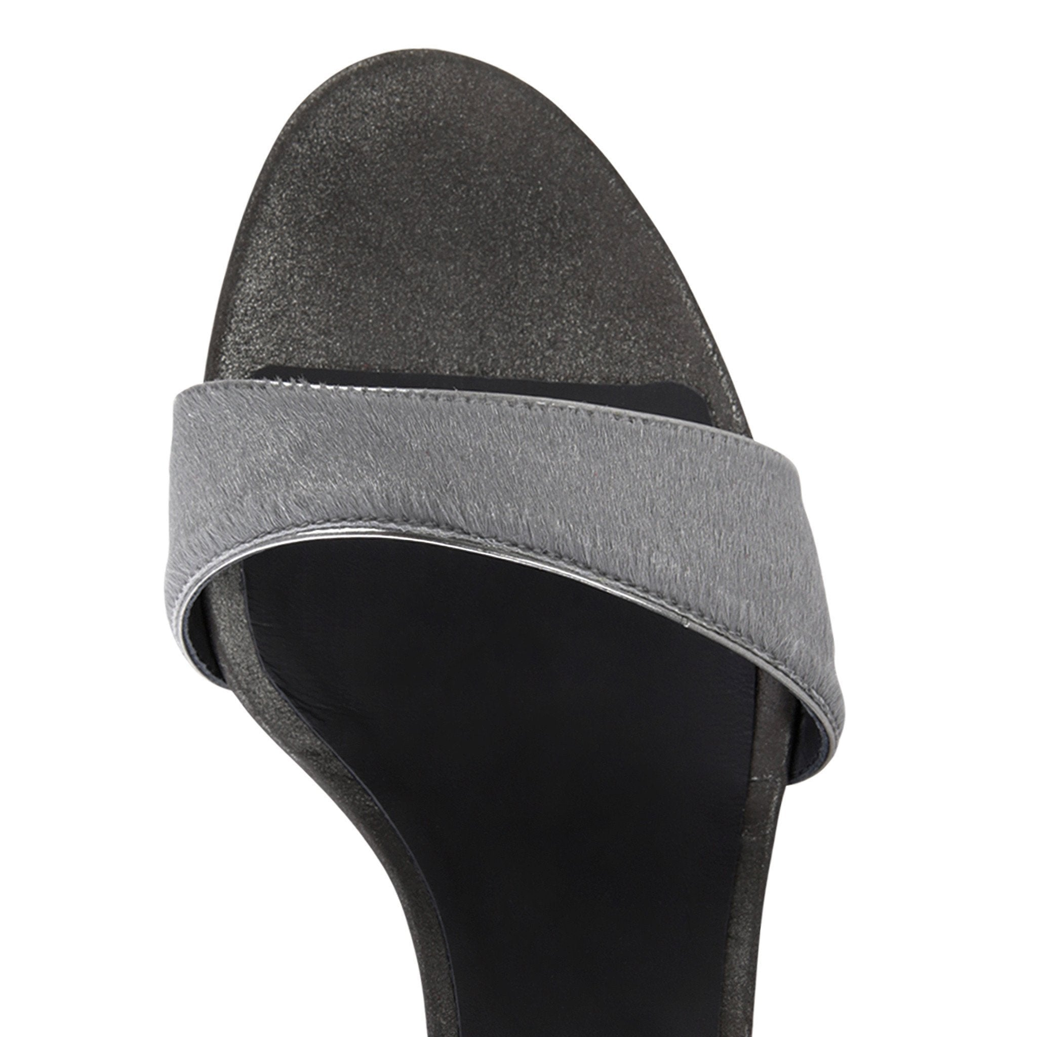 MODENA - Calf Hair Grey + Burma Anthracite, VIAJIYU - Women's Hand Made Sustainable Luxury Shoes. Made in Italy. Made to Order.