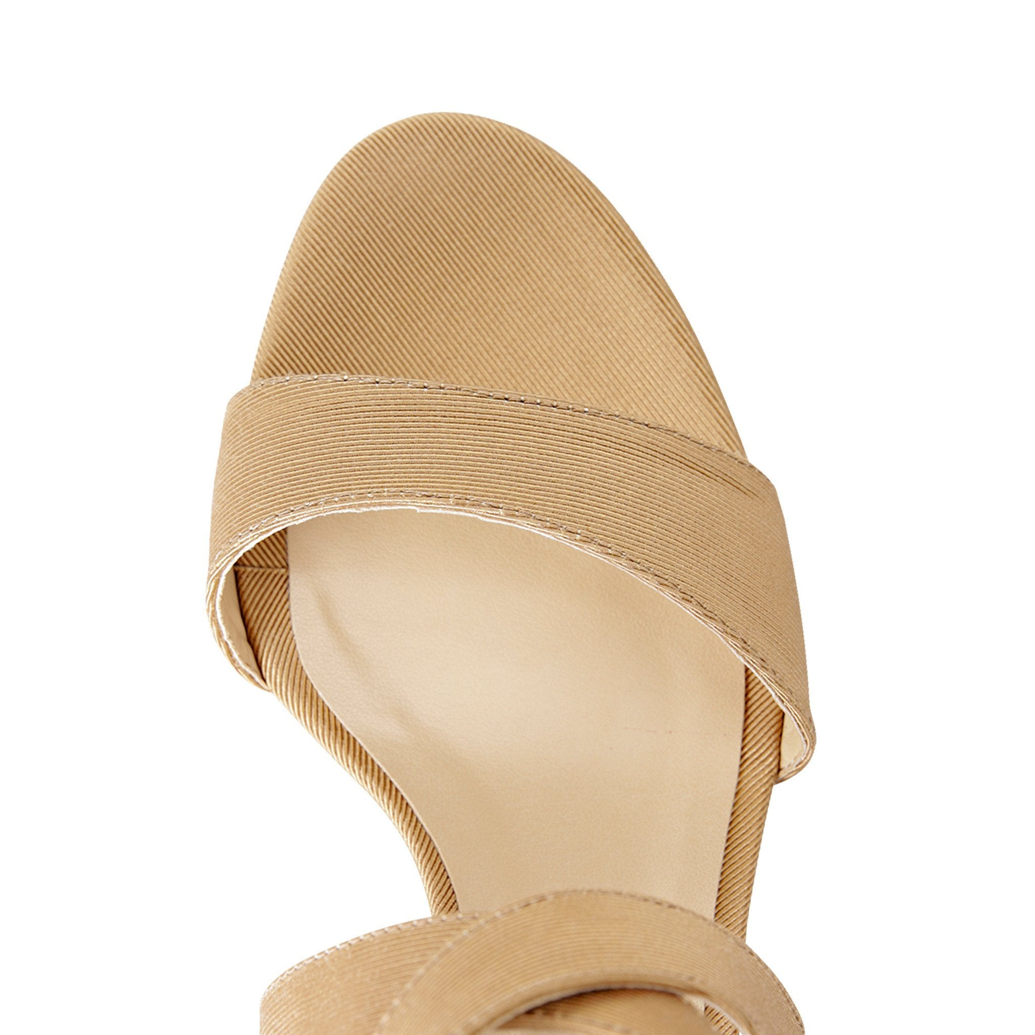 MODENA - Textile Grosgrain Sunrise Beige, VIAJIYU - Women's Hand Made Sustainable Luxury Shoes. Made in Italy. Made to Order.