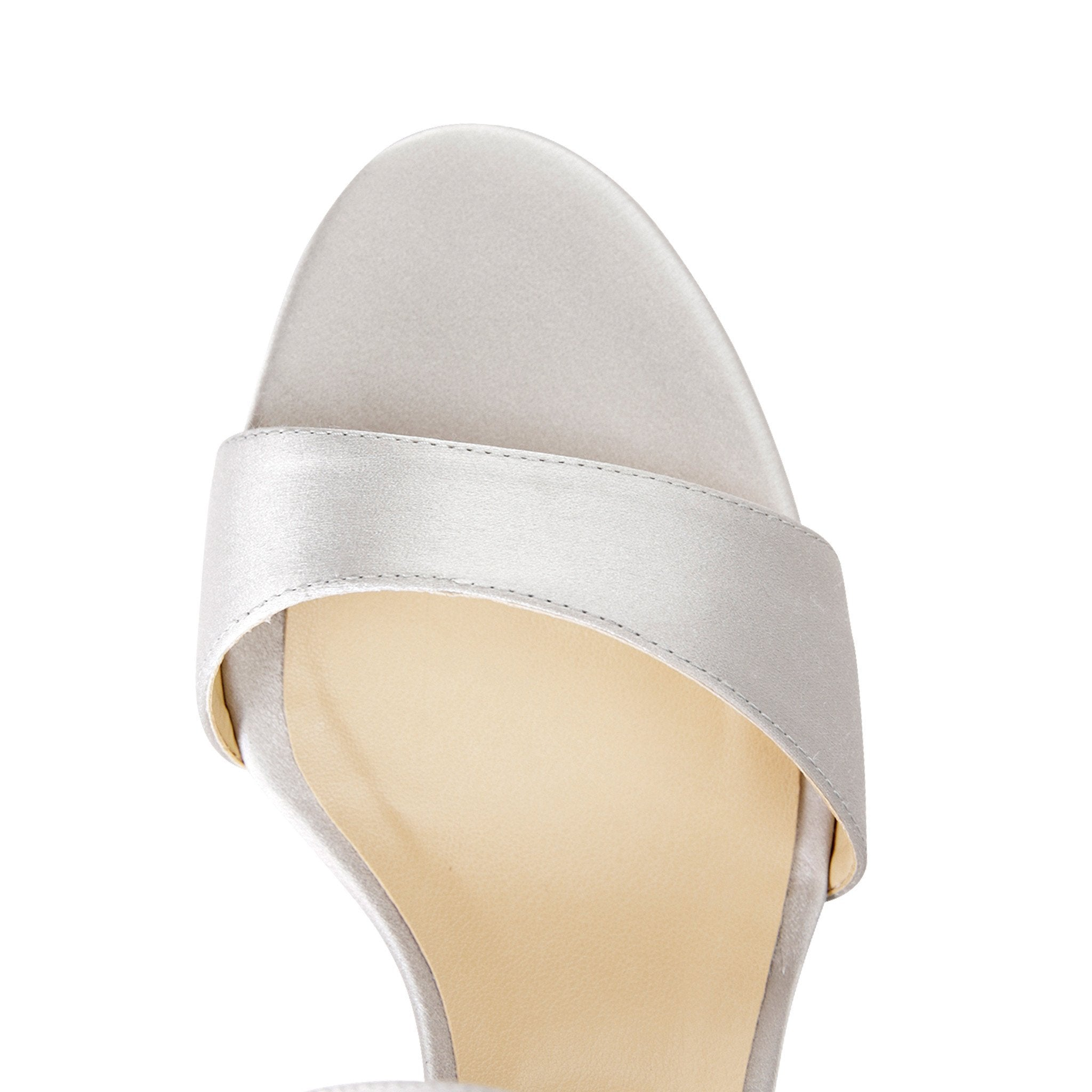 MODENA - Satin Perla, VIAJIYU - Women's Hand Made Sustainable Luxury Shoes. Made in Italy. Made to Order.