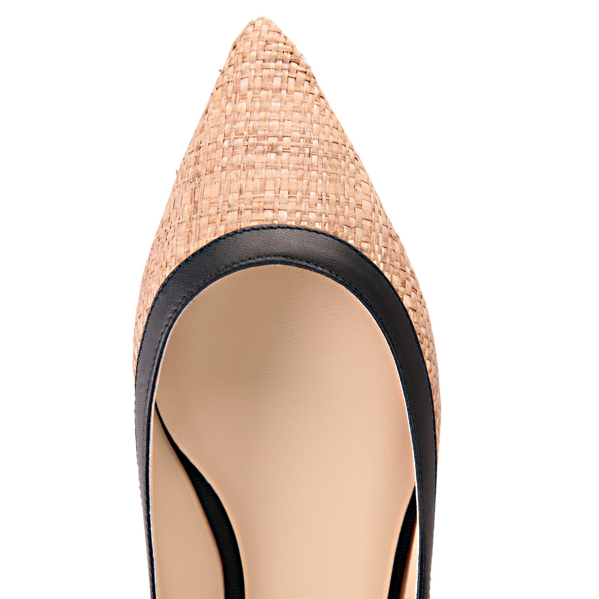 MILANO - Raffia Natural + Nappa Nero, VIAJIYU - Women's Hand Made Sustainable Luxury Shoes. Made in Italy. Made to Order.