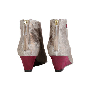 OLBIA - Calf Hair Vintage Copper + Karung Bordeaux, VIAJIYU - Women's Hand Made Sustainable Luxury Shoes. Made in Italy. Made to Order.