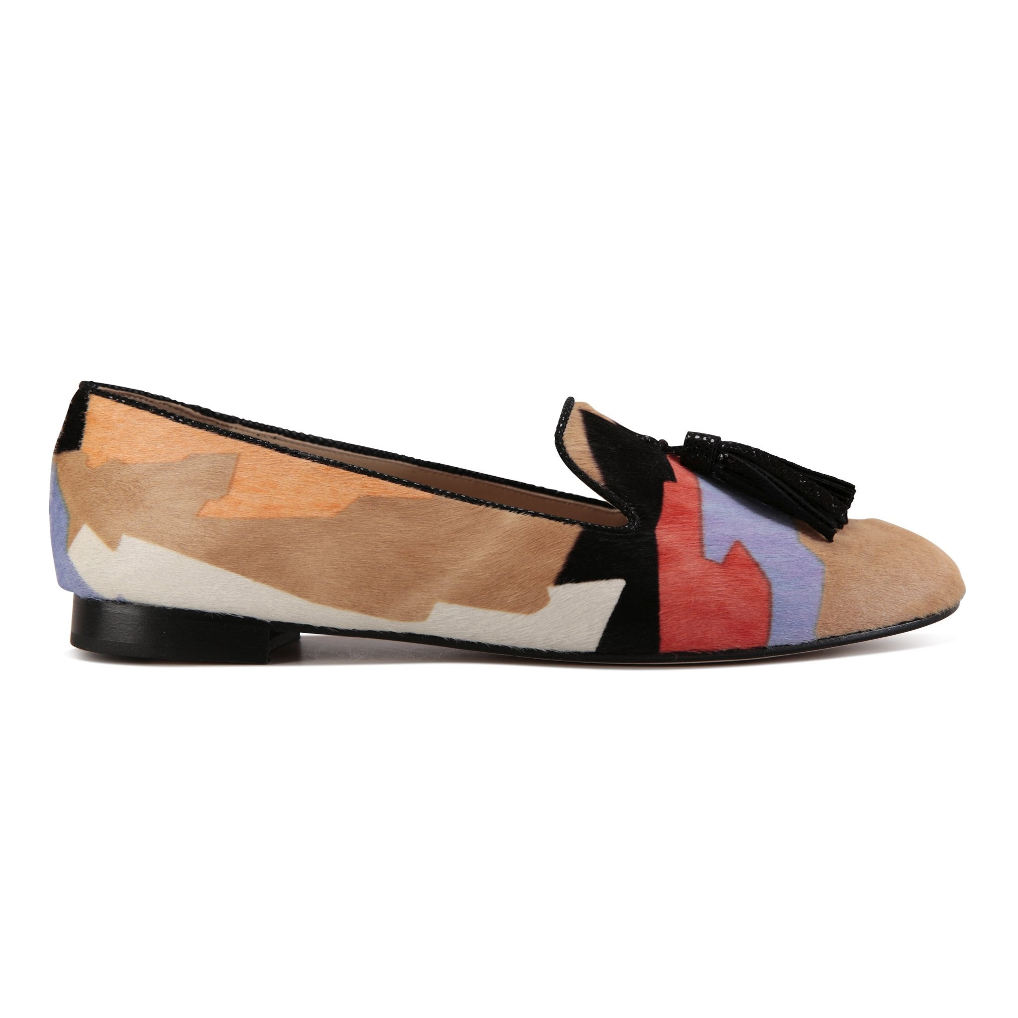 PARMA - Calf Hair Rio II + Karung Nero, VIAJIYU - Women's Hand Made Sustainable Luxury Shoes. Made in Italy. Made to Order.