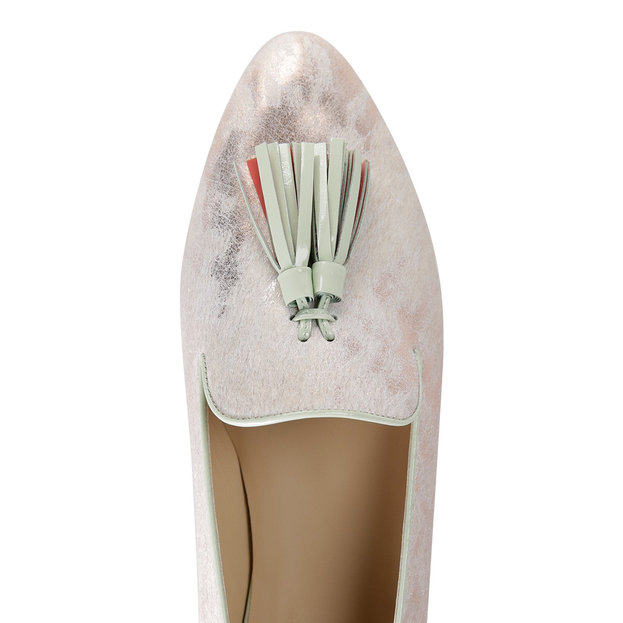 PARMA - Calf Hair Vintage Rose Gold + Seafoam, VIAJIYU - Women's Hand Made Sustainable Luxury Shoes. Made in Italy. Made to Order.