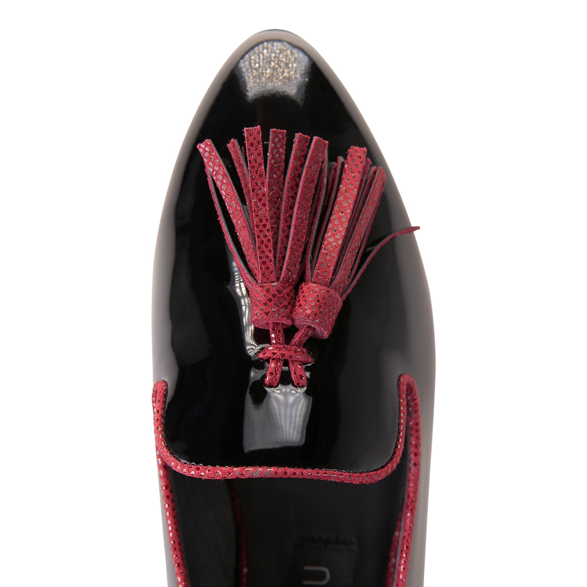 PARMA - Patent Nero + Karung Bordeaux, VIAJIYU - Women's Hand Made Sustainable Luxury Shoes. Made in Italy. Made to Order.