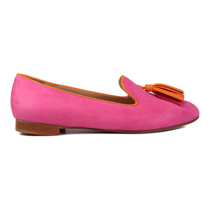 PARMA - Hydra Epiphany Pink + Mandarin, VIAJIYU - Women's Hand Made Sustainable Luxury Shoes. Made in Italy. Made to Order.