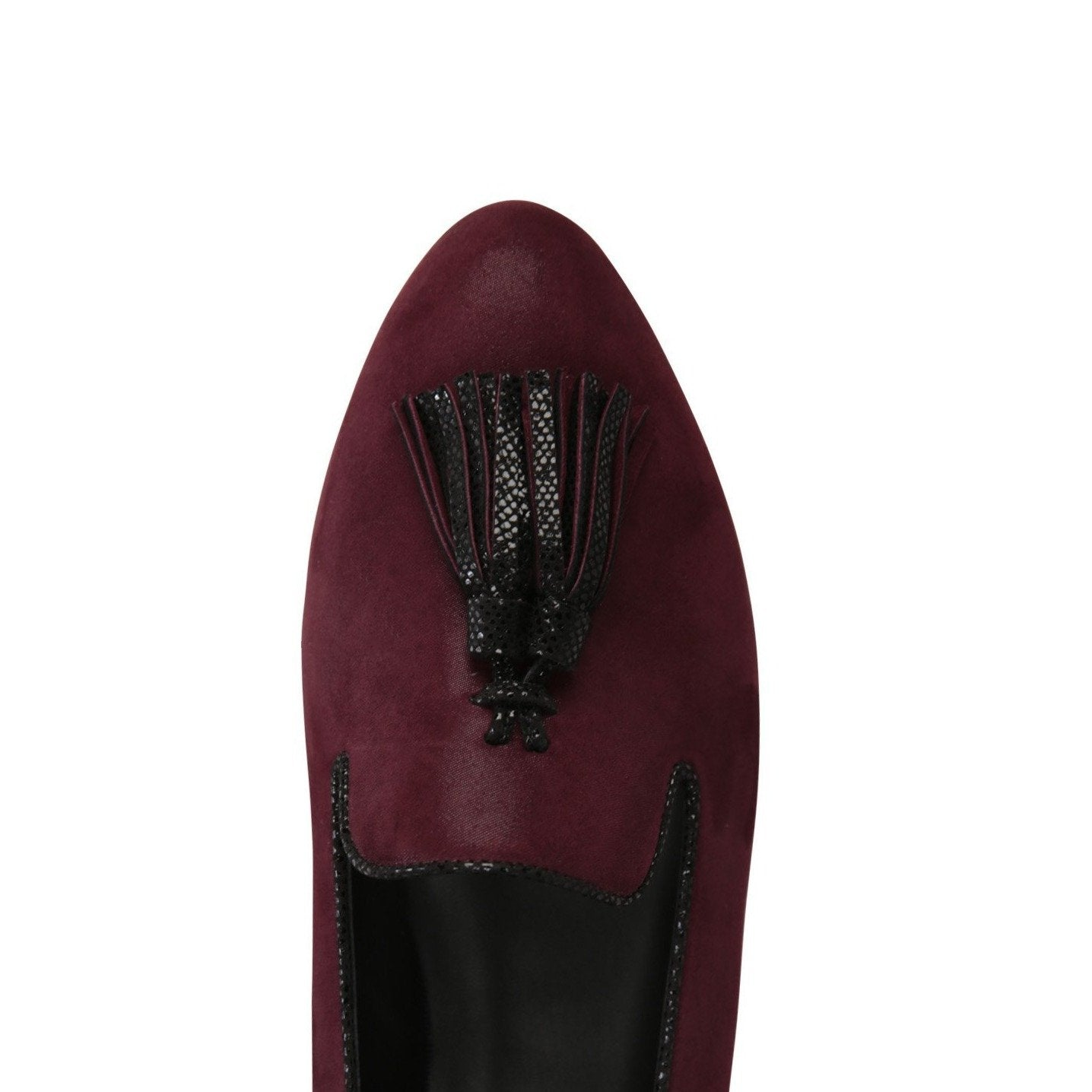PARMA - Hydra Garnet + Karung Nero, VIAJIYU - Women's Hand Made Sustainable Luxury Shoes. Made in Italy. Made to Order.