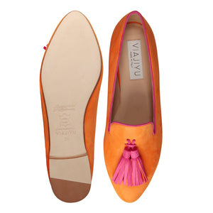 PARMA - Hydra Mandarin + Epiphany Pink, VIAJIYU - Women's Hand Made Sustainable Luxury Shoes. Made in Italy. Made to Order.
