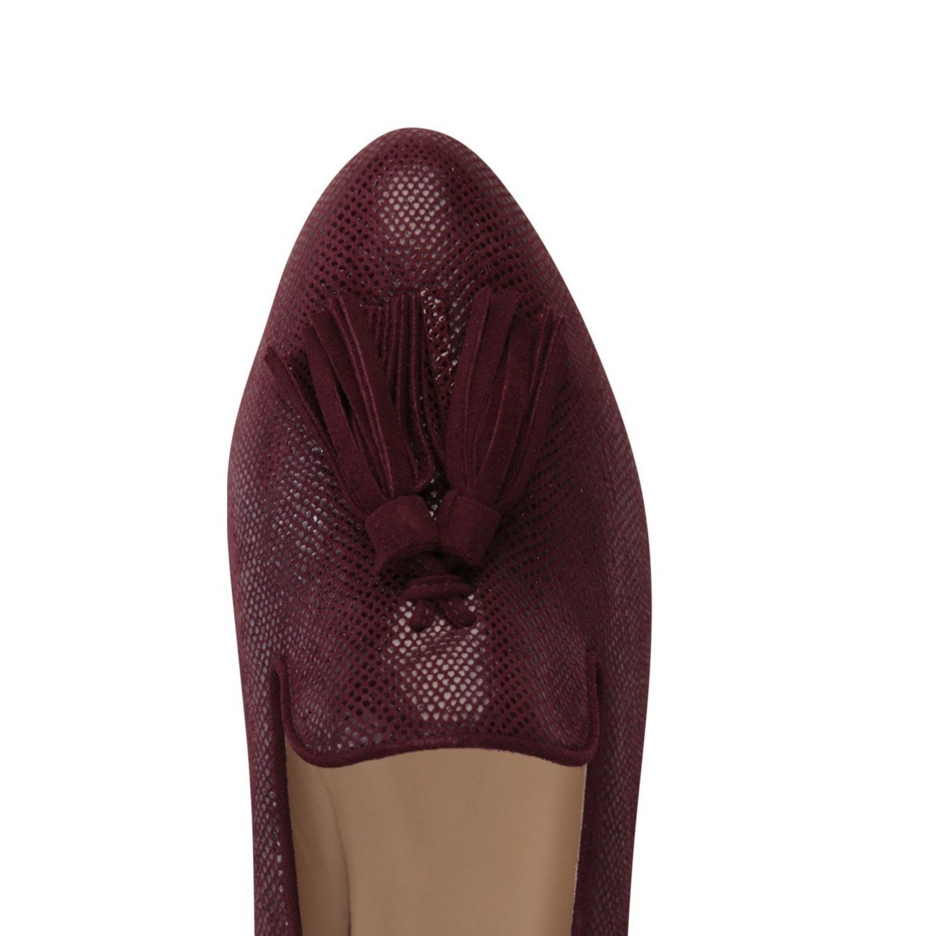 PARMA - Karung Garnet + Velukid, VIAJIYU - Women's Hand Made Sustainable Luxury Shoes. Made in Italy. Made to Order.