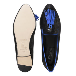 PARMA - Karung Nero + Cobalt, VIAJIYU - Women's Hand Made Sustainable Luxury Shoes. Made in Italy. Made to Order.