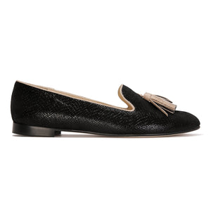 PARMA - Karung Nero + Tan, VIAJIYU - Women's Hand Made Sustainable Luxury Shoes. Made in Italy. Made to Order.