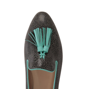 PARMA - Savannah Anthracite + Velukid Aqua, VIAJIYU - Women's Hand Made Sustainable Luxury Shoes. Made in Italy. Made to Order.