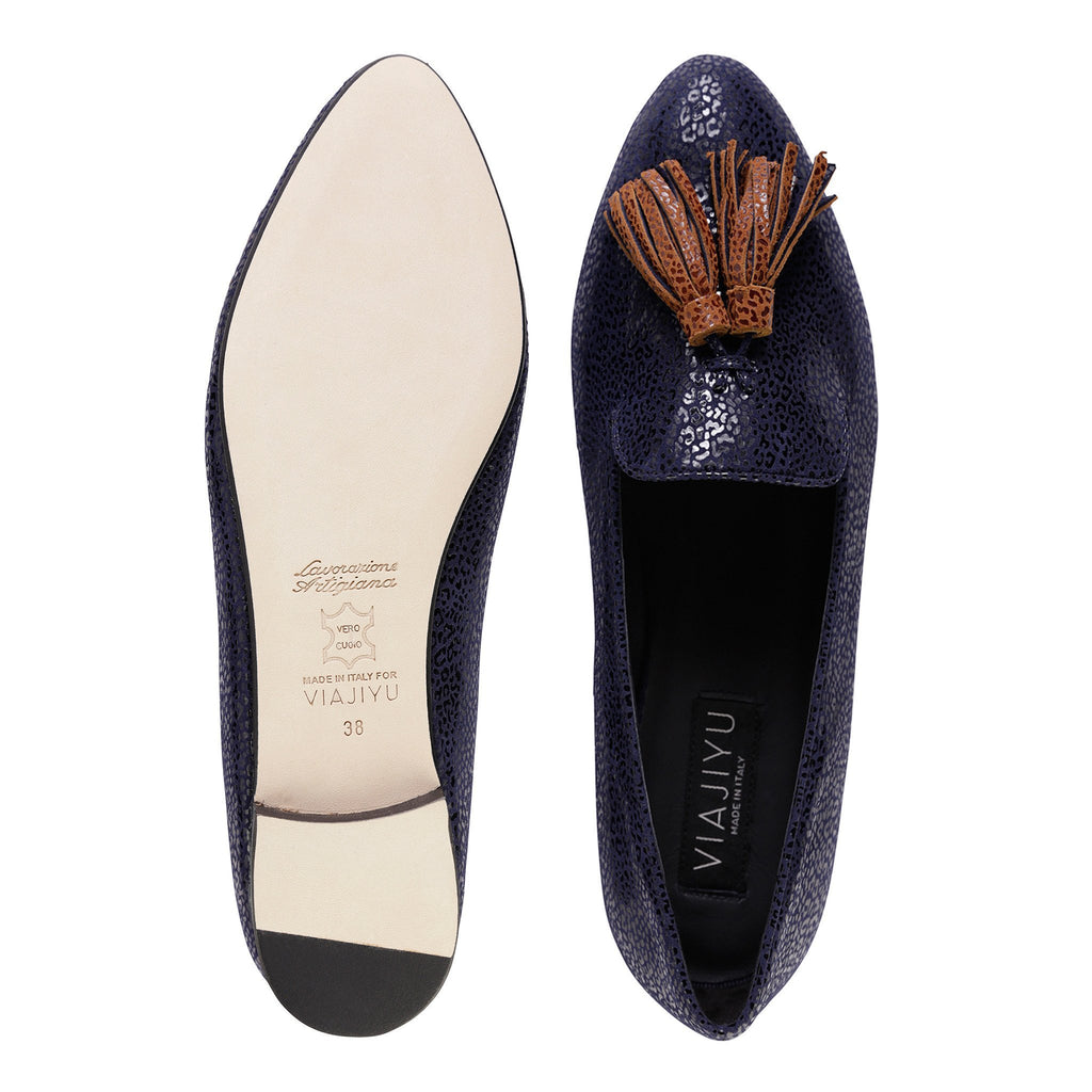 PARMA - Savannah Midnight + Dune, VIAJIYU - Women's Hand Made Sustainable Luxury Shoes. Made in Italy. Made to Order.