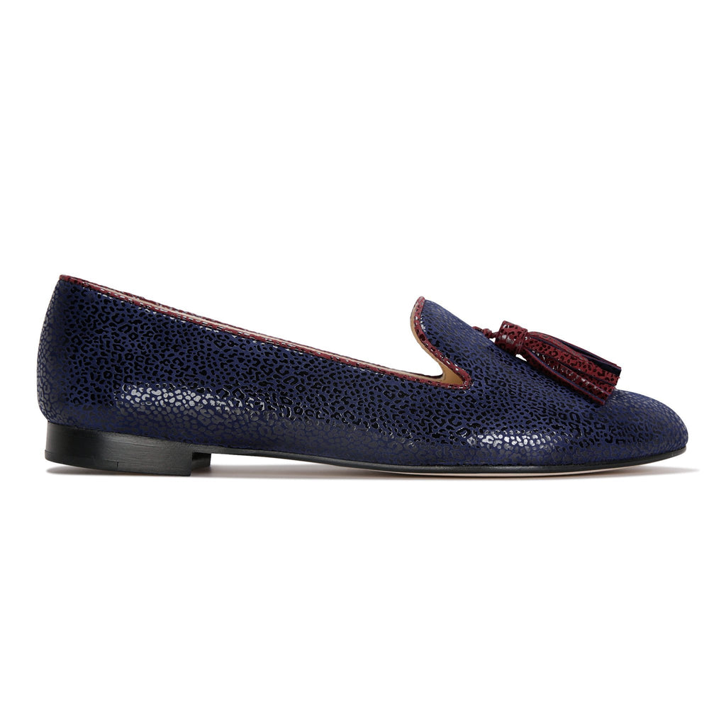 PARMA - Savannah Midnight + Garnet, VIAJIYU - Women's Hand Made Sustainable Luxury Shoes. Made in Italy. Made to Order.