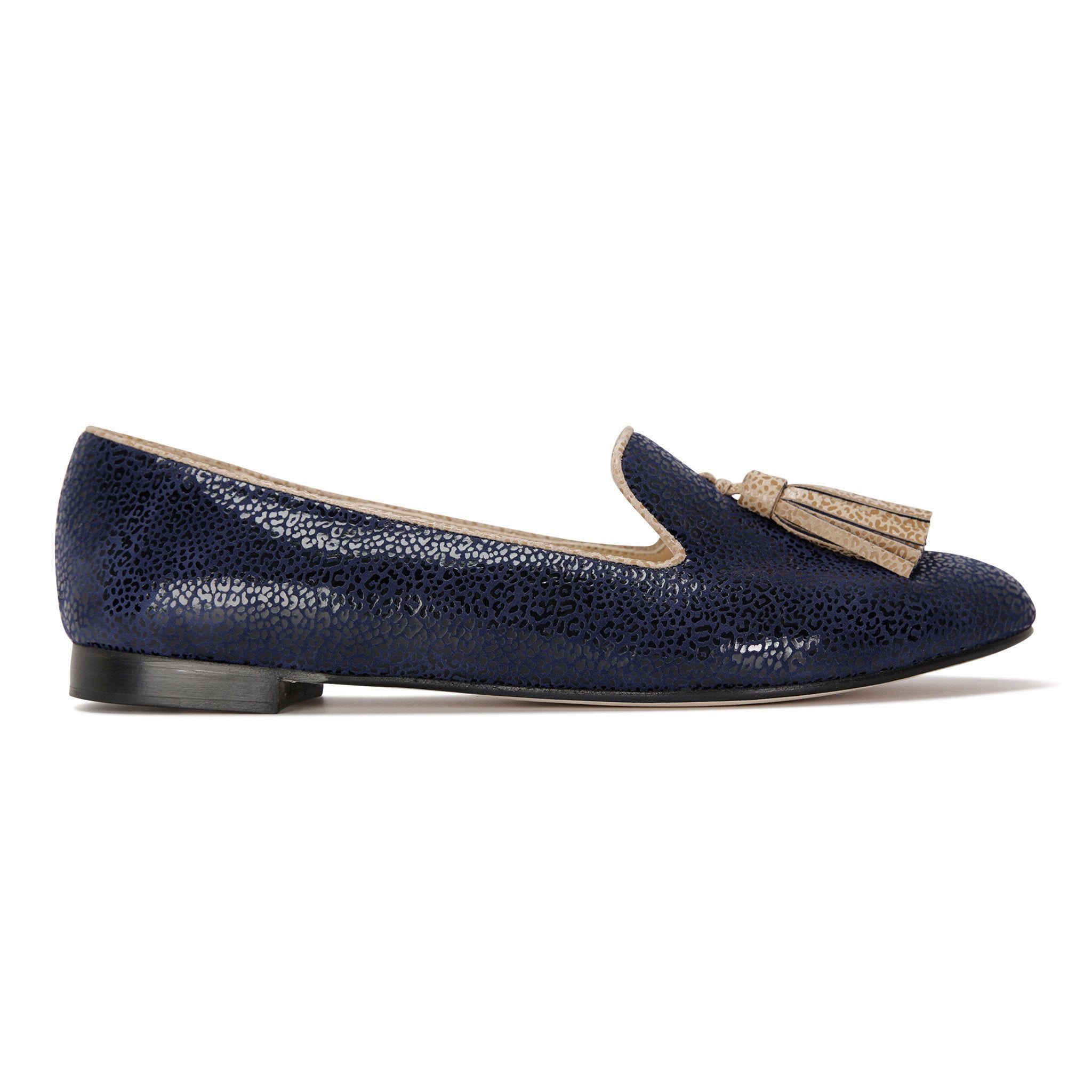 PARMA - Savannah Midnight + Tan, VIAJIYU - Women's Hand Made Sustainable Luxury Shoes. Made in Italy. Made to Order.