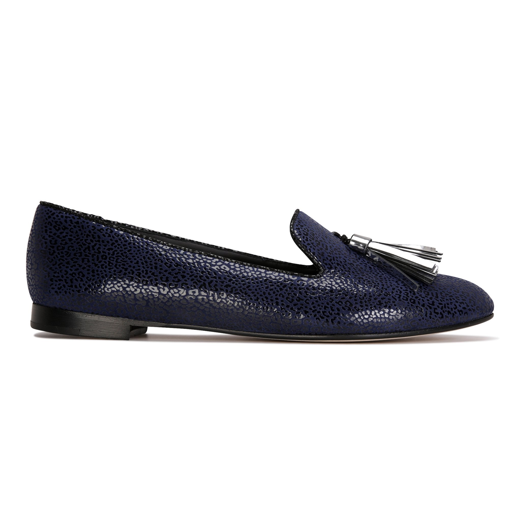 PARMA - Savannah Midnight + Metallic Argento, VIAJIYU - Women's Hand Made Sustainable Luxury Shoes. Made in Italy. Made to Order.