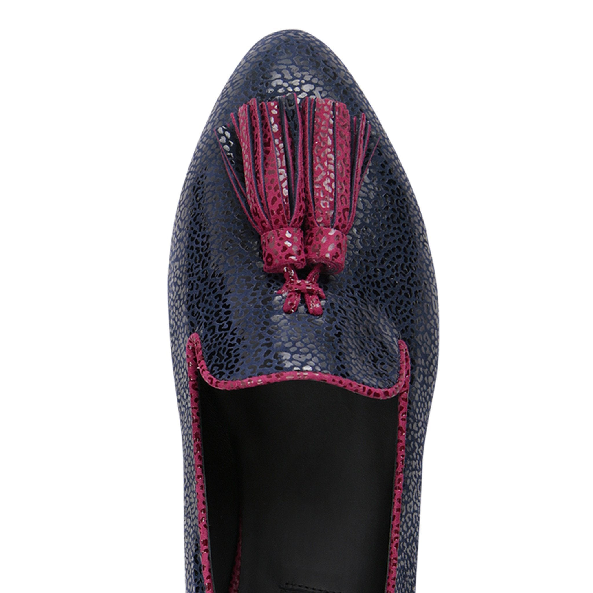 PARMA - Savannah Midnight + Bordeaux, VIAJIYU - Women's Hand Made Sustainable Luxury Shoes. Made in Italy. Made to Order.