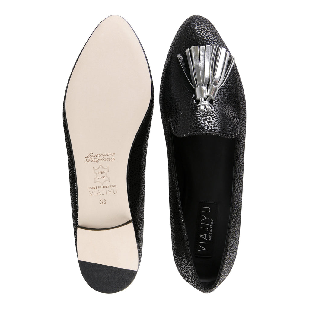 PARMA - Savannah Nero + Metallic Argento, VIAJIYU - Women's Hand Made Sustainable Luxury Shoes. Made in Italy. Made to Order.