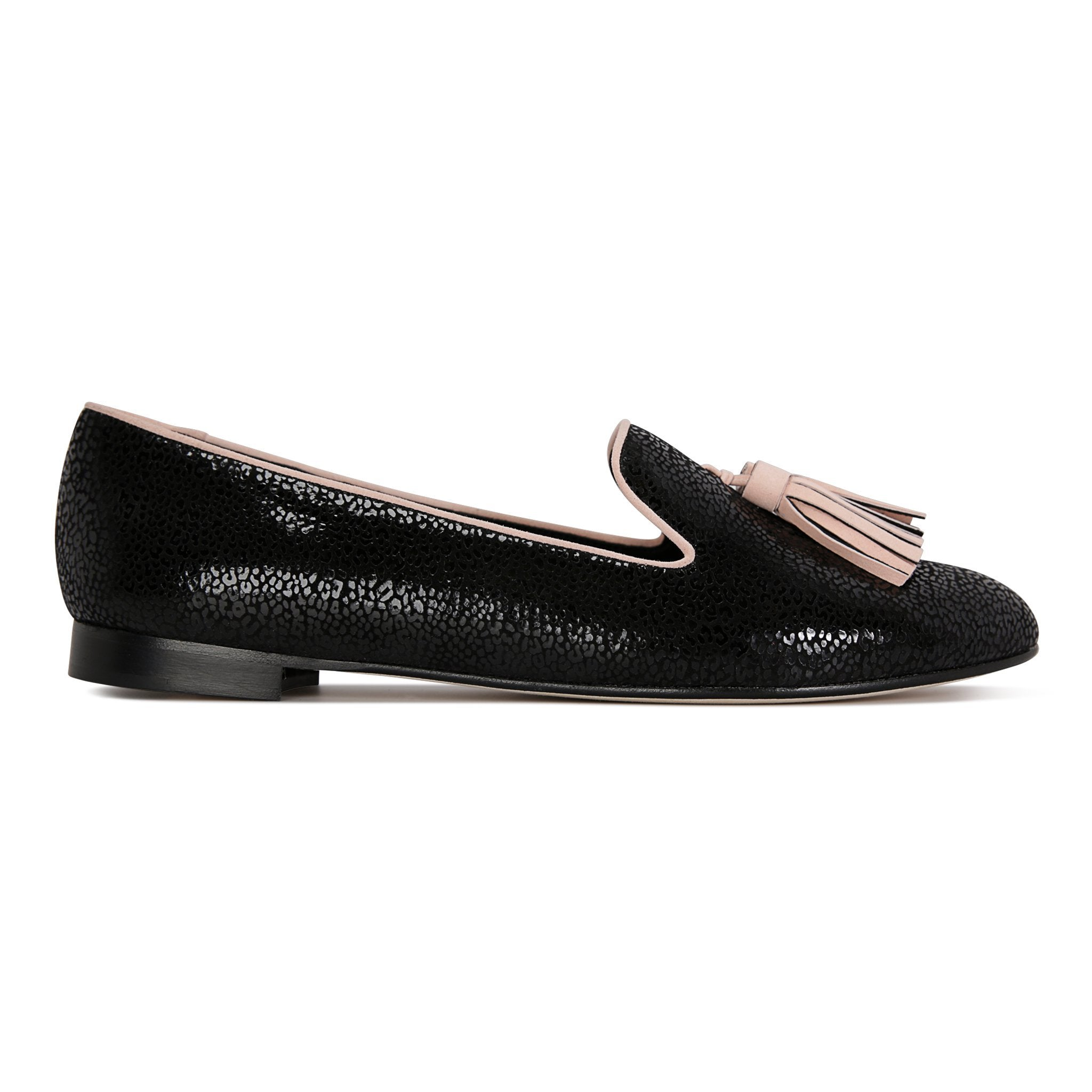 PARMA - Savannah Nero + Velukid Blush Pink, VIAJIYU - Women's Hand Made Sustainable Luxury Shoes. Made in Italy. Made to Order.