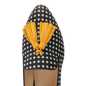 PARMA - Textile Polka Dot Black and White + Karung Diana's Dream, VIAJIYU - Women's Hand Made Sustainable Luxury Shoes. Made in Italy. Made to Order.