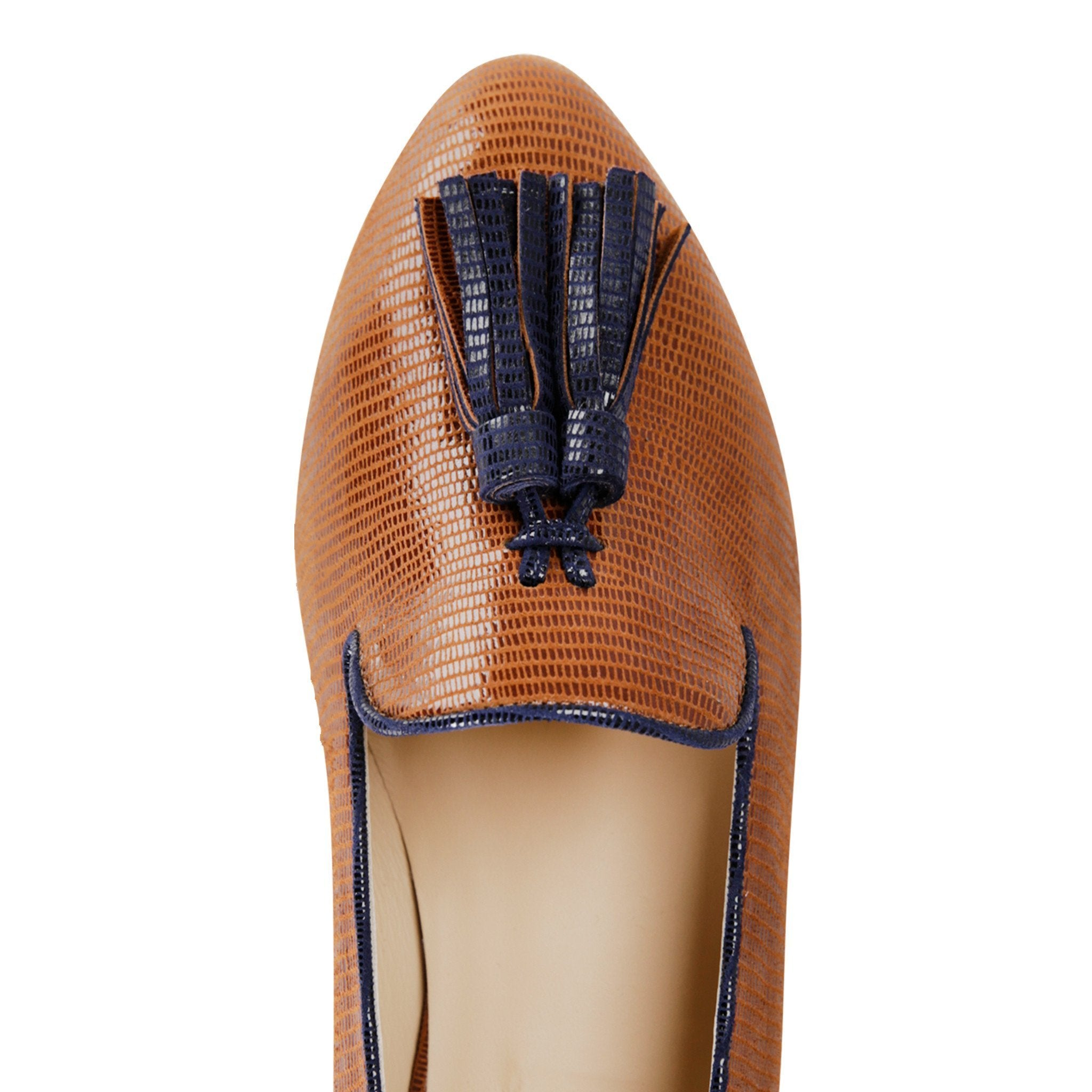 PARMA - Varanus Dune + Midnight, VIAJIYU - Women's Hand Made Sustainable Luxury Shoes. Made in Italy. Made to Order.
