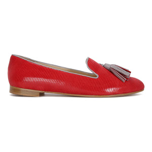 PARMA - Varanus Rosso + Grigio, VIAJIYU - Women's Hand Made Sustainable Luxury Shoes. Made in Italy. Made to Order.