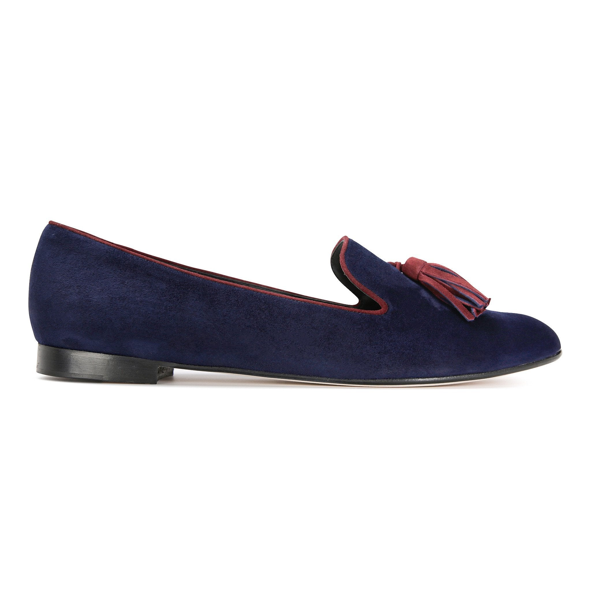 PARMA - Velukid Midnight + Garnet, VIAJIYU - Women's Hand Made Sustainable Luxury Shoes. Made in Italy. Made to Order.