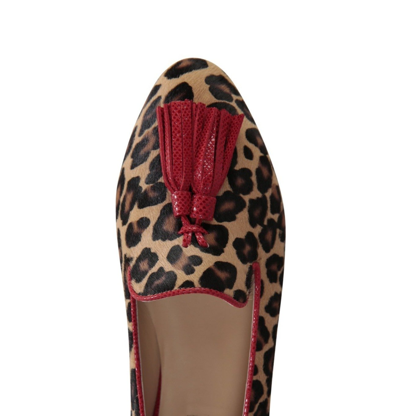 PARMA - Calf Hair Congo + Karung Rosso, VIAJIYU - Women's Hand Made Sustainable Luxury Shoes. Made in Italy. Made to Order.