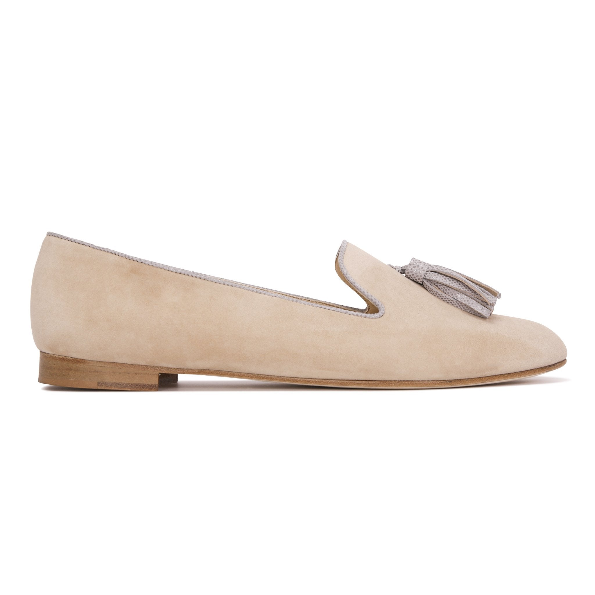 PARMA - Velukid Tan + Karung Grigio, VIAJIYU - Women's Hand Made Sustainable Luxury Shoes. Made in Italy. Made to Order.