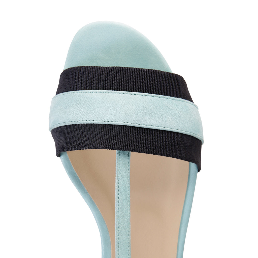 PERUGIA - Hydra Sky Mint + Grosgrain Navy, VIAJIYU - Women's Hand Made Sustainable Luxury Shoes. Made in Italy. Made to Order.