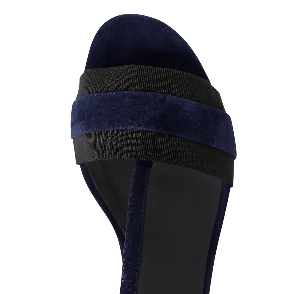 PERUGIA - Velukid Midnight + Grosgrain Nero, VIAJIYU - Women's Hand Made Sustainable Luxury Shoes. Made in Italy. Made to Order.