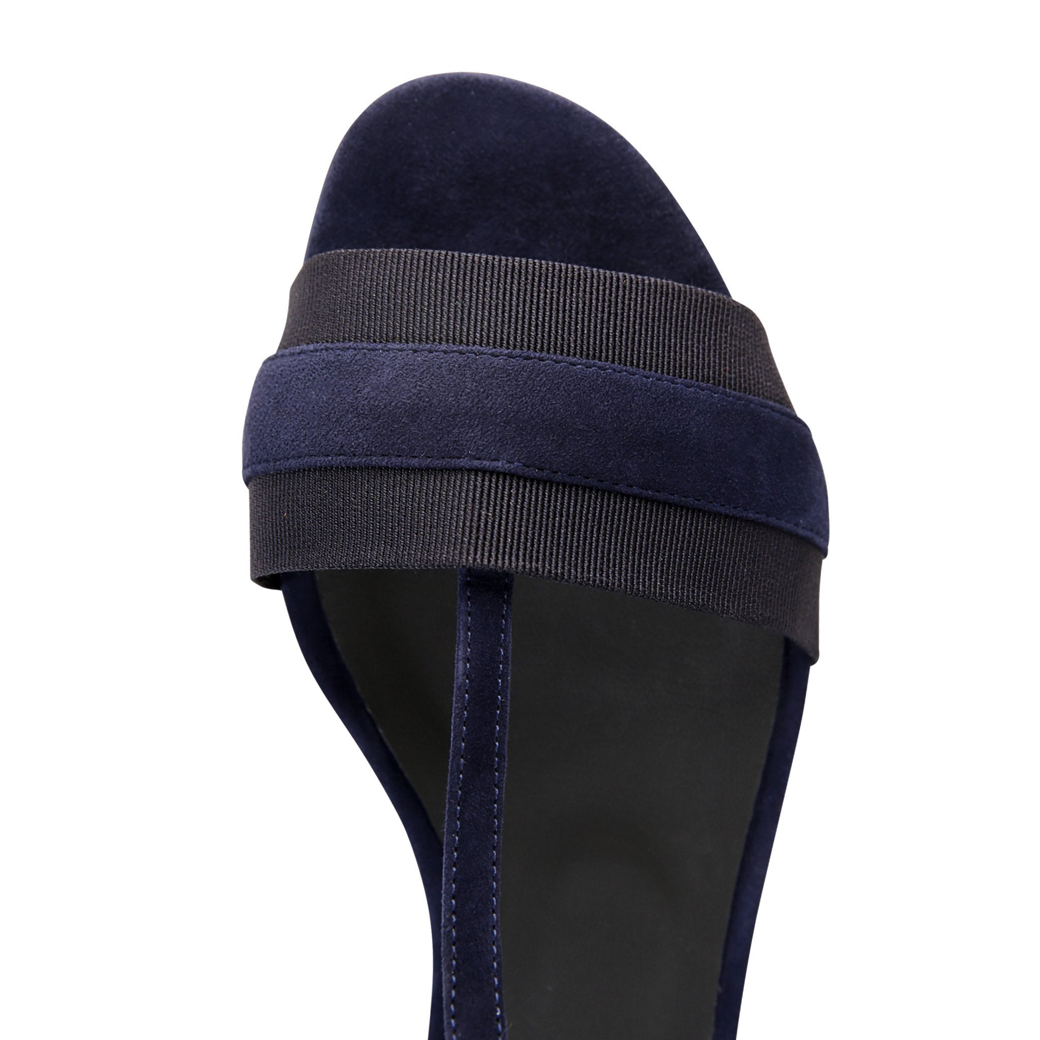 PERUGIA - Velukid Midnight + Grosgrain Navy, VIAJIYU - Women's Hand Made Sustainable Luxury Shoes. Made in Italy. Made to Order.