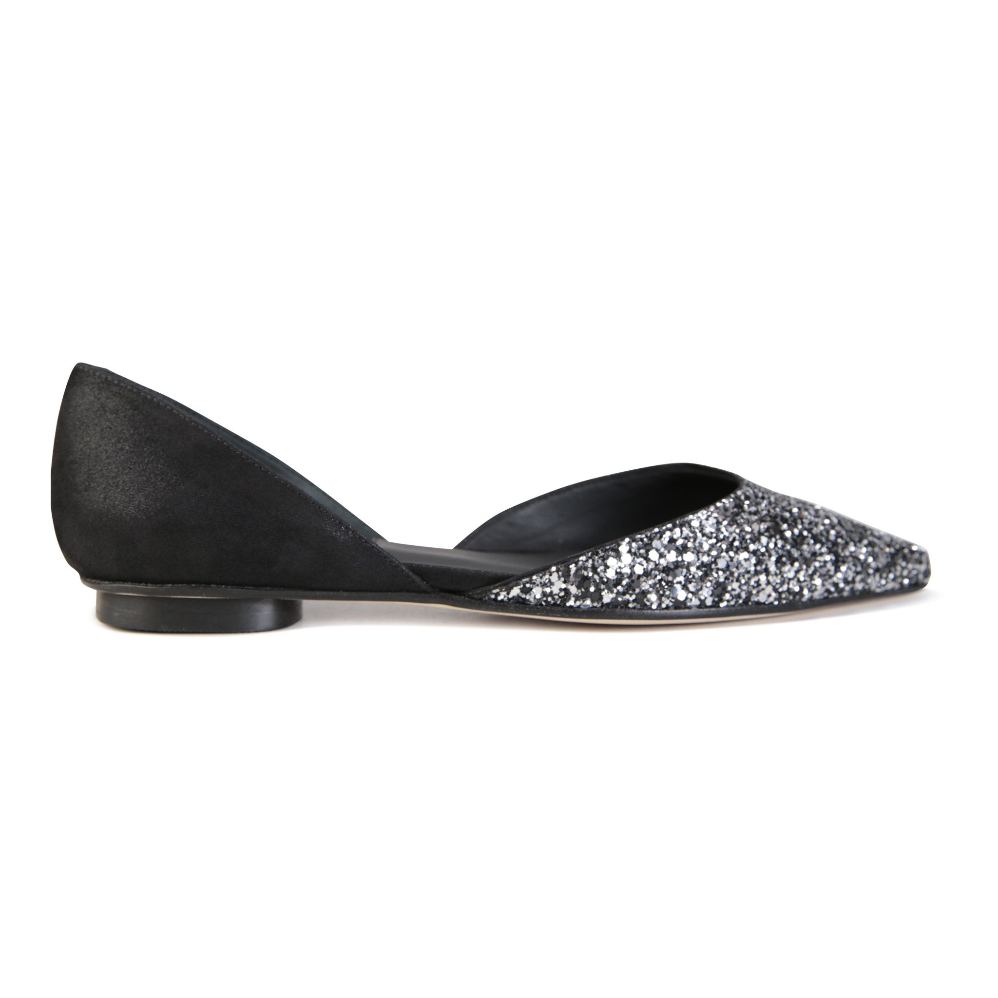 PONZA - Glitter Notte + Hydra Nero, VIAJIYU - Women's Hand Made Sustainable Luxury Shoes. Made in Italy. Made to Order.
