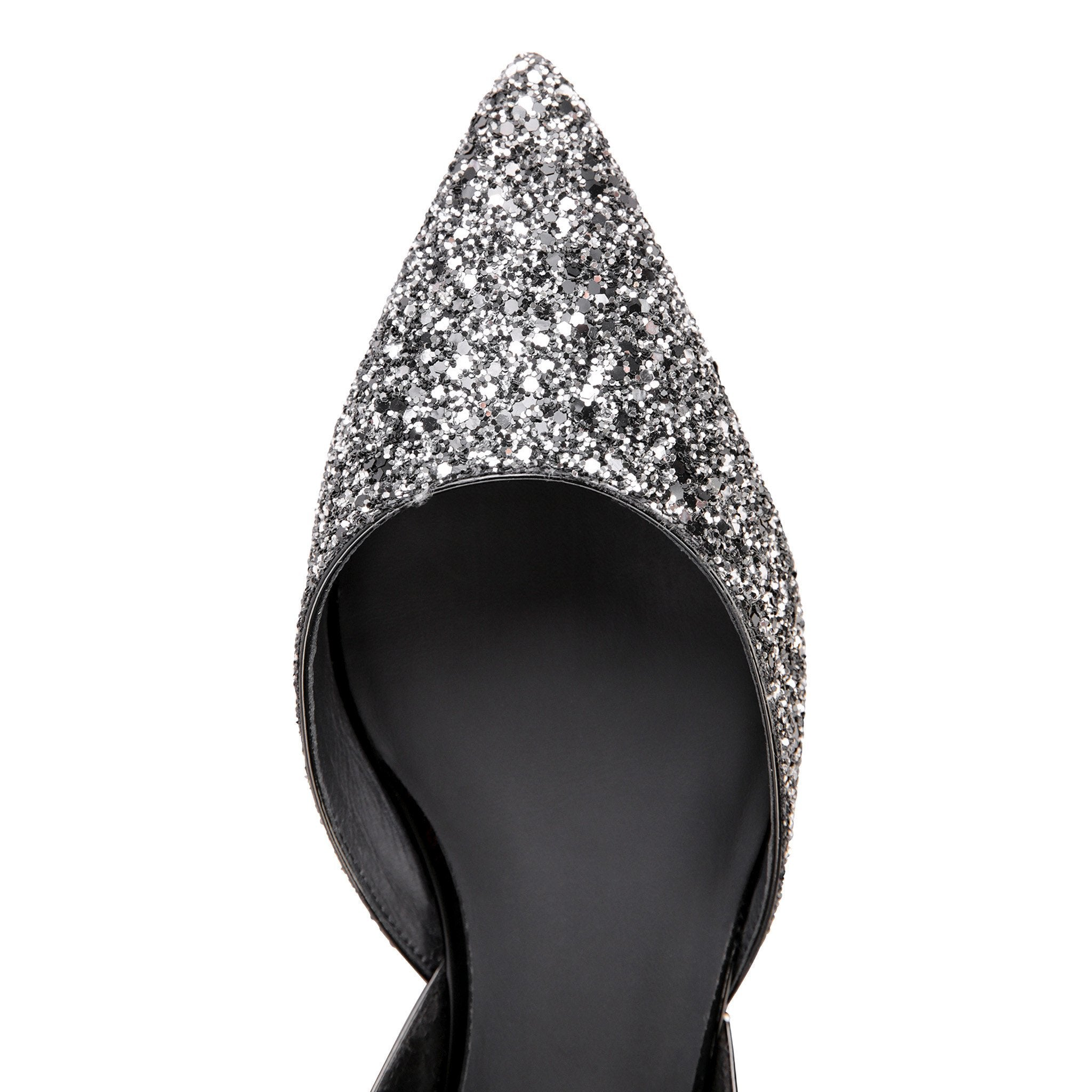 PONZA - Glitter Notte + Patent Nero, VIAJIYU - Women's Hand Made Sustainable Luxury Shoes. Made in Italy. Made to Order.