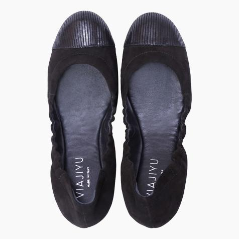 PORTOFINO - Velukid Nero + Varanus, VIAJIYU - Women's Hand Made Sustainable Luxury Shoes. Made in Italy. Made to Order.